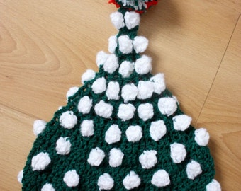 SUMMER SALE 12 to 24m Baby Elf Hat Pom Pom Beanie - Crochet Green Red White Pom Pom Baby Hat Toddler Photo Prop Halloween Gift