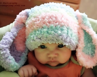 3 to 6m Baby Bunny Hat, Rainbow Baby Beanie, Crochet Bunny Ears, Baby Rainbow Hat, Rabbit Animal Hat, Infant Photo Prop, Easter Gifts