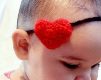 6 to 12m Red Heart Headband Heart Baby Girl Headband - Crochet Baby Headband Plush Love Heart Skinny Headband Photo Prop Costume Baby Gift