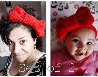 Mom and Baby Red Christmas Bow Headbands, Crochet Adult and Baby Headband Set, Infant Red Headband (Choose Baby Size) Costume Gift Baby Gift