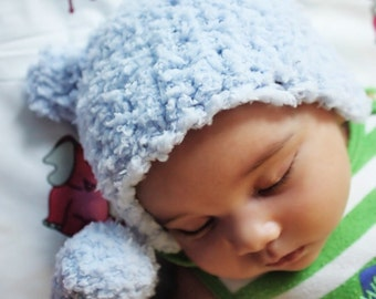 SALE 3 to 6m Baby Boy Bear Hat Baby Boy Prop Blue Bear Beanie - Crochet Bear Baby Hat Infant Baby Photography Prop Photo Prop Gift