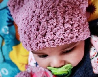 SALE 3 to 6m Baby Cat Hat, Plum Baby Hat, Kitten Baby Girl, Baby Boy Kitten Hat, Kitten Costume Cat Hat, Infant Beanie Kitten Prop