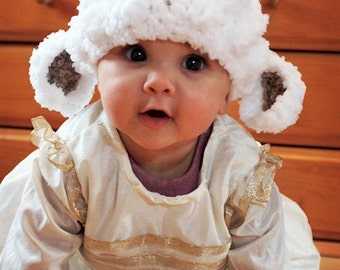 2T to 4T Childrens Lamb Hat, Easter Toddler Hat, Crochet Sheep Beanie, Farm Animal Hat, White Brown Easter Lamb Costume, Toddler Prop Gift