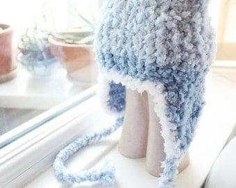 3 to 6m Blue Baby Boy Bear Earflap Hat Teddy Bear Beanie - Crochet Bear Hat Baby Earflap Beanie Infant Photo Prop Baby Hat