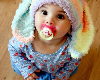 SUMMER SALE 6 to 12m Baby Bunny Hat Baby Beanie - Crochet Easter Baby Hat in Rainbow Spray Easter Rabbit Hat For Girls Photo Prop   Cij