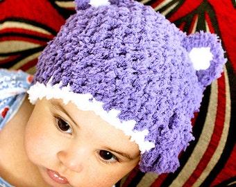 6 to 12m Baby Flower Hat Purple Hat Bear Beanie Crochet Girl Purple White Baby Hat and Mittens Set Bear Photo Prop Winter Hat
