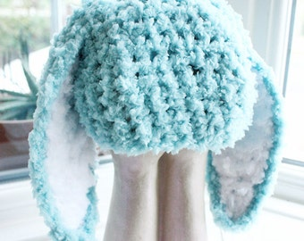 3 to 6m Infant Bunny Hat Baby Beanie Crochet Boy Girl Hat Easter Baby Hat Mint Blue White Rabbit Hat Photo Prop   Winter Hat, Easter Gifts