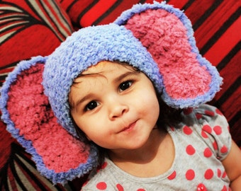 SALE 3 to 6m Elephant Hat Baby Hat Crochet Blue Baby Hat - Elephant Baby Beanie Blue Raspberry Crochet Animal Hat Photo Prop  Labor Day
