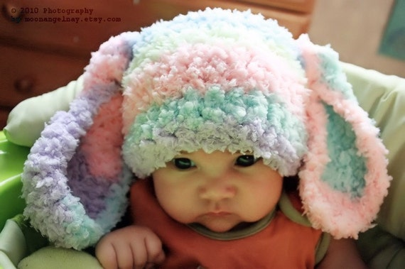 3 to 6m Baby Bunny Hat, Rainbow Baby Beanie, Crochet Bunny Ears, Baby Rainbow Hat, Easter Rabbit Animal Hat, Infant Photo Prop Costume Gift