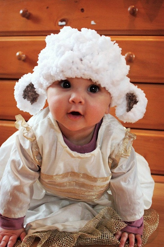 2T to 4T Childrens Lamb Hat, Easter Toddler Hat, Crochet Sheep Beanie, Farm Animal Hat, White Brown Easter Lamb Costume, Toddler Photo Prop