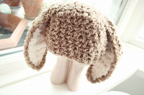 3 to 6m Baby Bunny Hat Infant Beanie Bunny Prop Crochet Baby Hat Bunny Ears Girl Boy Hat Brown Prop Easter Gift Costume Baby Gift