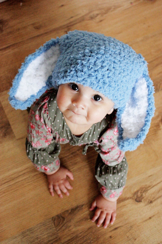 SALE 6 to 12m Blue Baby Boy Hat Crochet Bunny Baby Hat - Blue Bunny Ears Flopsy Rabbit Hat Baby Photo Prop Halloween Costume