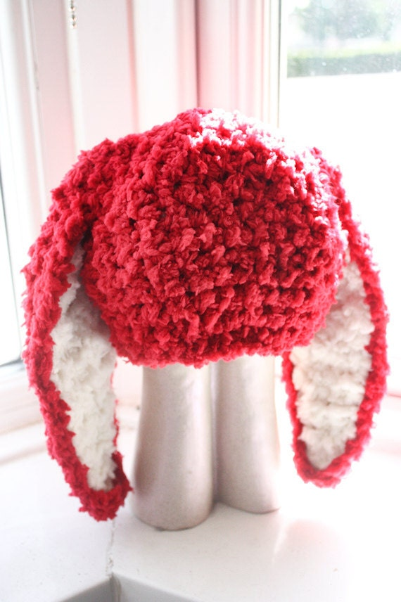SALE 12 to 24m Red Hat, Bunny Ears Baby Hat - Crochet Bunny Hat Baby Beanie Red Cream Bunny Rabbit Toddler Hat Prop Christmas Gift Baby Gift