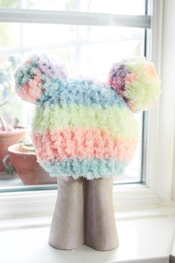 SUMMER SALE 6 to 12m Rainbow Baby Pom Pom Hat - Crochet Rainbow Hat Pom Pom Beanie Baby Rainbow Pom Pom Hat Photo Prop Halloween Gift