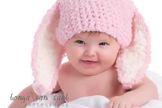 SALE 0 to 3m Baby Hat Newborn Bunny Hat Baby Shower Gift Bunny Photo Prop Baby Pink Crochet Baby Bunny Ear Rabbit Hat Girl Baby Hat