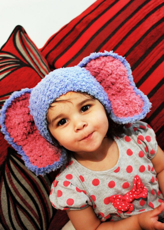 3 to 6m Elephant Hat Baby Hat Crochet Blue Baby Hat - Elephant Baby Beanie Blue Raspberry Crochet Animal Hat Photo Prop Christmas Baby Gift