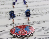 Songbirds - Blue and red necklacePink Elephant Jewelry