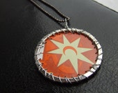 UpCycled Starburst Graphic Pendant Silver WireWrap from Craft Beer CasePink Elephant Jewelry