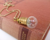 UpCycled LightBulb Pendant in Brass OOAK- Different Chain Lengths AvailablePink Elephant Jewelry