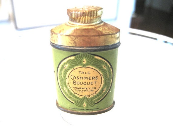RARE Antique 1910s - 1920s Colgate Cashmere Bouquet SAMPLE SIZE Powder Tin with contents intact