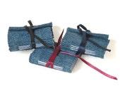 Upcycled Mini Jean Journal - Ribbon Bound - Set of 3