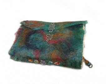 Book of Dreams - Handmade Art Book - Wet Felted Cover with Handmade Deckle Edge Orange Paper