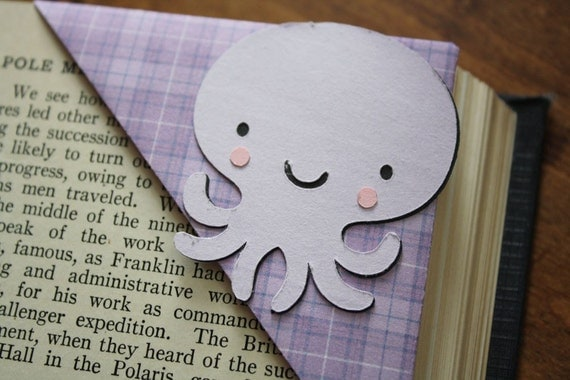 octopus corner bookmarks items similar to purple octopus origami bookmark on etsy 2566