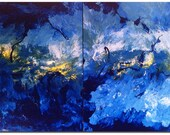 Blue storm - Original - Abstract painting - DanielBrunosArts - ( 24x36 x1.5 )