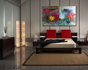 10% off sale-  Flourish - Abstract - Original - ( 24'' x 36''  x1.5'' deep  ) DanielBrunosArts