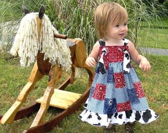 Girls Dress, Cowgirl Dress, Bandanna Dress, Knot Dress, Toddler Dress, Western Dress, Party Dress, Cowgirl Party Dress, Rodeo Dress, Cow
