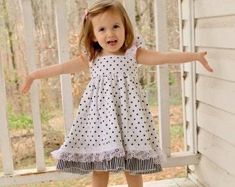 Girls Dress - Girls Polka Dot Dress - Black White Dress - Summer Dress- Girls - Girls Fashion - Toddler Dress - Girls - Girls Clothing