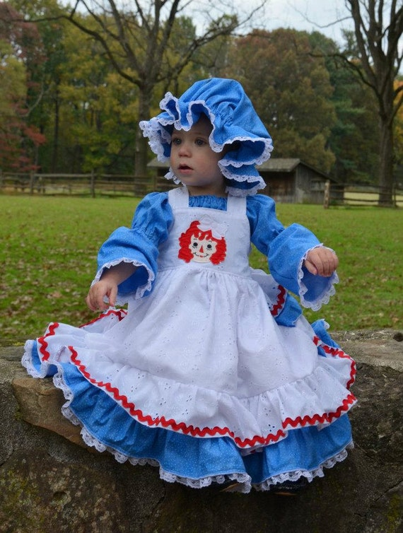 Raggedy Ann Ruffle Back Dress Sizes 6-12 M, 12-18M, 18-24M, 2, 3, 4