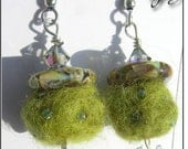 Lampwork Glass and Alpaca Fiber Earrings