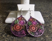 Funky Retro Coloured Floral Wood Earrings