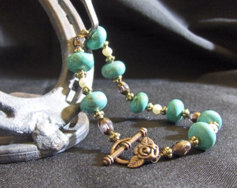 Brass Pearl and Turquoise Bracelet