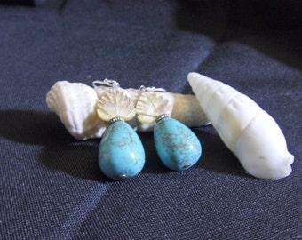 Turquoise and Shell Tear Drop Earrings - Handmade