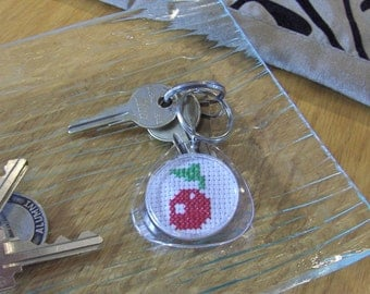 Bright Cherry Cross Stitched Key Chain