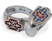 Sterling Silver Ring 925k , 9k gold  and Enamel For Men and Women springr fashion