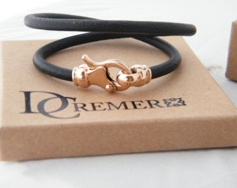 MENS LEATHER Bracelet / rose gold 9k clasps/ leather gold bracelet/handmade leather bracelet/ twice around the wrist / handmade jewelry