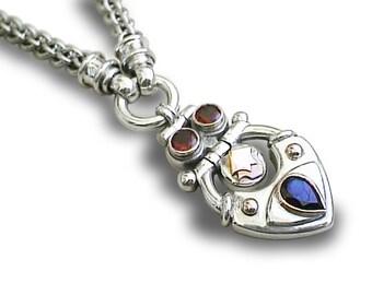 WOMEN NECKALACE, PENDANT Silver, combined 9k gold Application, gift idea silver pendant, israeli design, handmade Necklace, silver chain