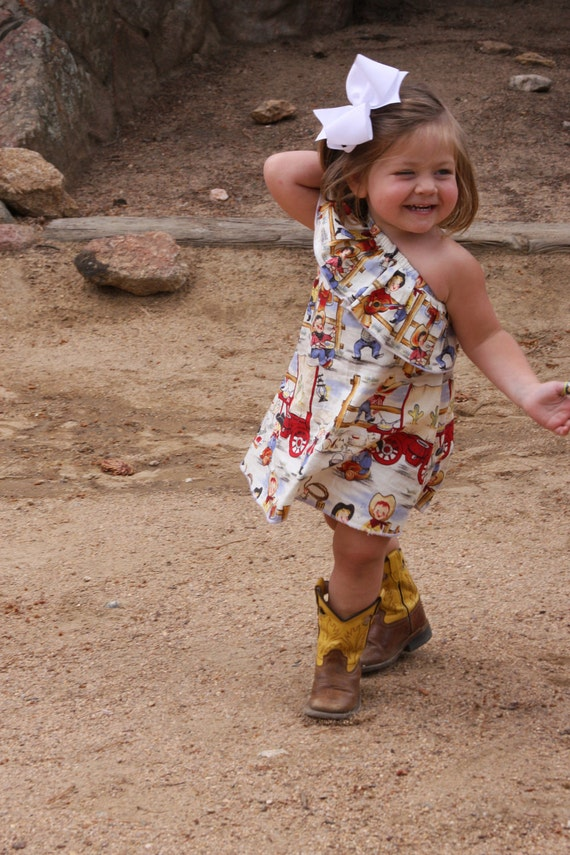 Girls One Shoulder Dress with Ruffle Michael Miller Lil' Cowpokes Fabric