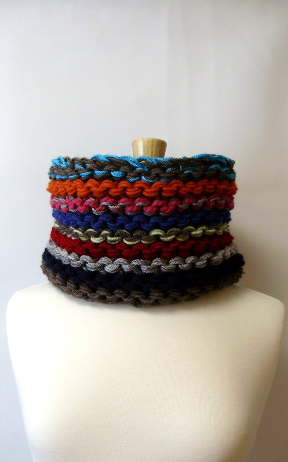 SALE - Multicolor Chunky Knit Infinity Cowl Scarf