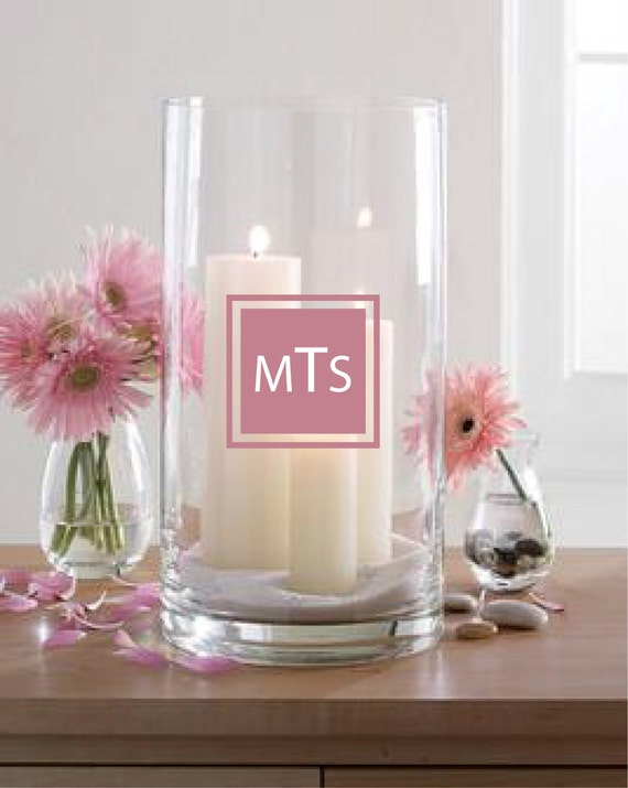 Personalized Monogram Vinyl Stickers for Weddings Vases, glasses, mugs, candles, chairs