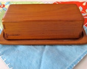 On Hold for LaurenMCook- Sowe Konst Mid Century Modern Teakwood Cheese/Butter Dish