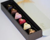 Six Large Chocolate Hearts - HAPPY BIRTHDAY 15% off - Use coupon CHEERS15 (Discount applied to this item only)