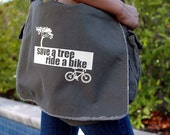 Save a Tree, Ride a Bike Messenger Bag - CHOOSE YOUR OWN Color