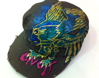 Cute Flying Eagle Tattoo inspired Handpainted Vintage Style Cap
