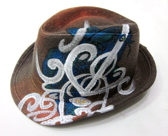 One of kind fedora handpainted maori tattoo with by avoiryoung for Koi homburg