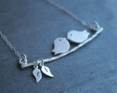 Lovebird swing - Personalized - Sterling silver necklace, mothers necklace - initial necklace, white gold pendant