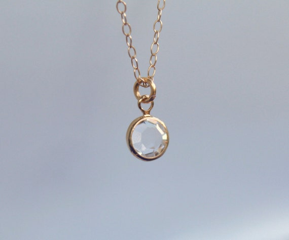 Tiny crystal drop-14k gold filled necklace